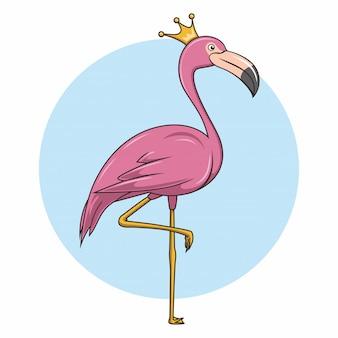 Flamingo rosa cartoon tropical princesinha com coroa
