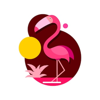 Flamingo rosa de ilustração vetorial isolado no fundo branco em estilo design plano