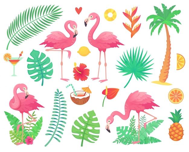 Flamingo rosa e plantas tropicais.