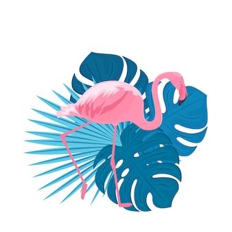 Flamingo rosa elegante e folhas tropicais. ilustração tropical da moda no verão