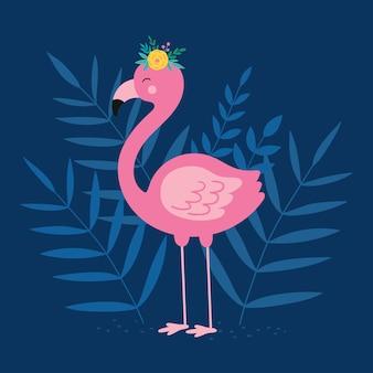 Flamingo rosa floral pássaro flamingo e folhas tropicais