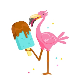 Flamingo rosa fofo comendo sorvete de chocolate