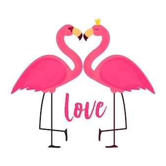 Flamingo rosa fofo na ilustração de fundo de amor