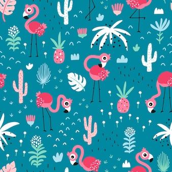 Flamingo seamless pattern