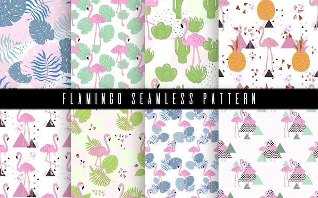 Flamingo sem costura e folhas ilustração vetorial de padrão tropico