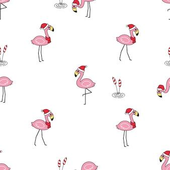 Flamingo sem costura padrão natal desenho de chapéu de papai noel
