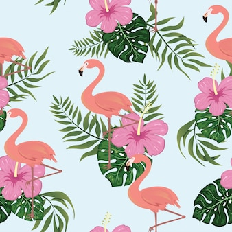 Flamingo tropical pattern seamless