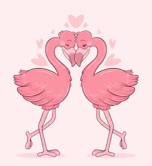 Flamingoes casal apaixonado com suas cabeças tocando