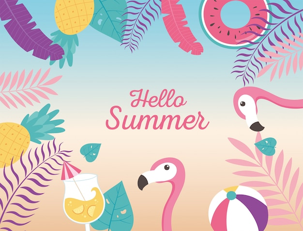 Flamingos bola flutuam coquetel abacaxi exóticas folhas tropicais, olá verão letras ilustração
