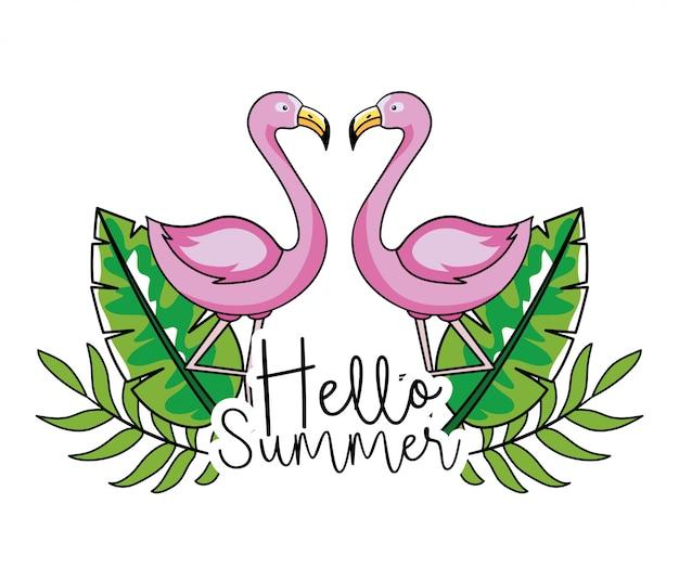 Flamingos com folhas tropicais em férias de verão