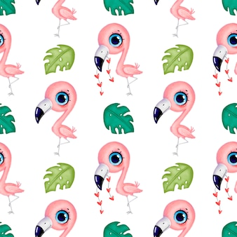 Flamingos cor de rosa bonito dos desenhos animados com corações e folhas tropicais sem costura padrão. padrão sem emenda de pássaros tropicais. padrão de animais da selva.