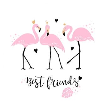 Flamingos cor de rosa fofos