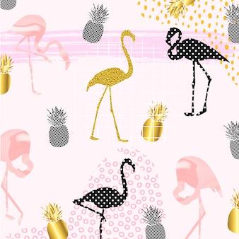 Flamingos criativos com frutas abacaxi