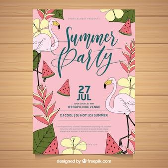 Flamingos de festa de verão e vegetação