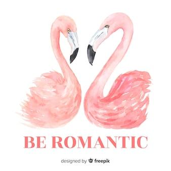Flamingos de mão desenhada com fundo de palavra