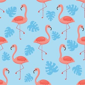 Flamingos e padrão sem emenda de folha de palmeira