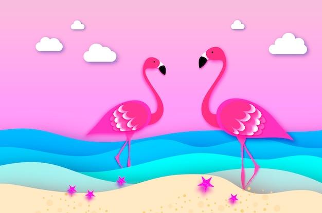 Flamingos elegantes no mar em estilo de corte de papel.