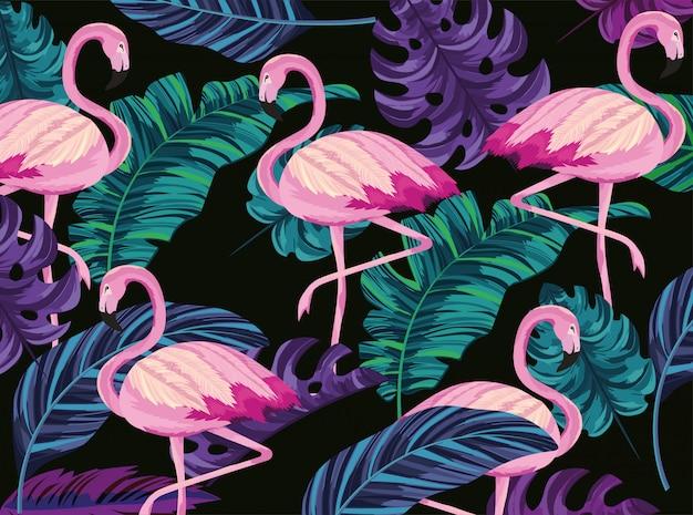Flamingos exóticas e fundo de folhas tropicais