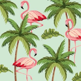Flamingos exóticos com fundo de palmeira