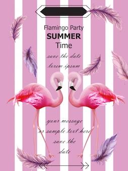 Flamingos festa cartão de verão