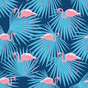 Flamingos rosa e folhas de palmeira. padrão de verão tropical sem emenda.