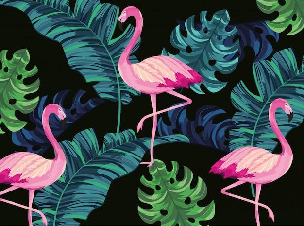 Flamingos tropicais com fundo de folhas exóticas
