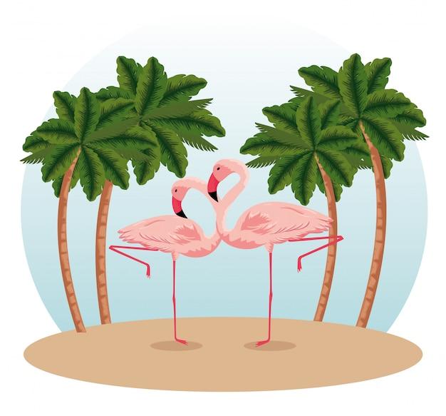 Flamingos tropicais com palmeiras exóticas