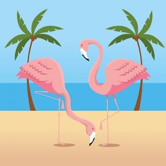 Flamingos tropicais com palmeiras na praia