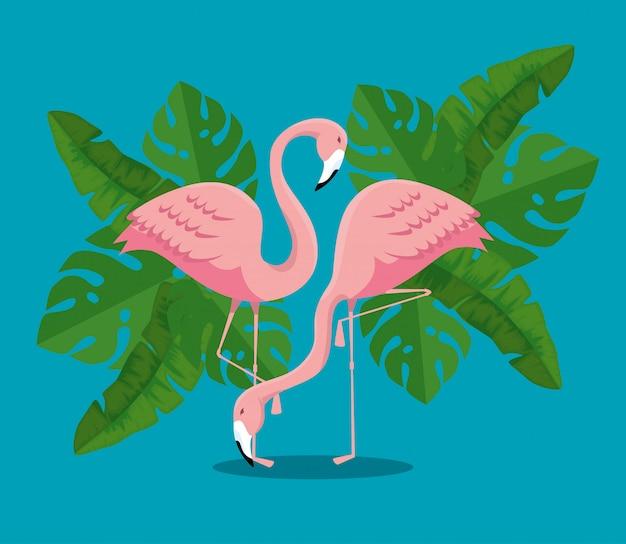 Flamingos tropicais com plantas de folhas exóticas