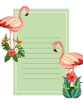 Flamingos tropicais dos desenhos animados notepad