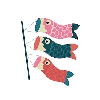 Flâmula de carpas koinobori papagaios de peixe