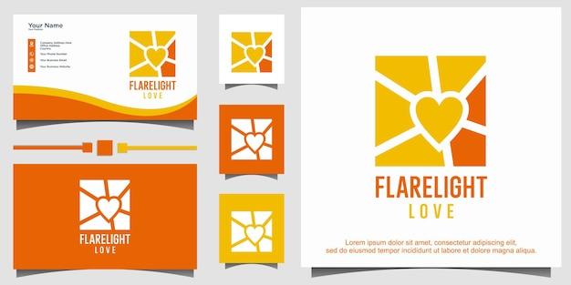 Flare light com logotipo de amor