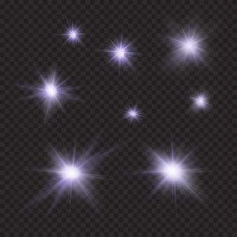 Flares, brilhos, raios, vigas, efeitos vetoriais de luz violeta