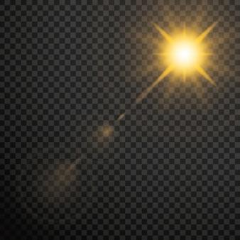 Flares de lente de ouro transparente brilham efeito de luz.