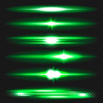 Flares de lente horizontal azul pack. raios laser, raios de luz horizontais.
