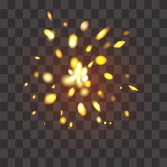 Flash brilhante em um brilho de fundo transparente