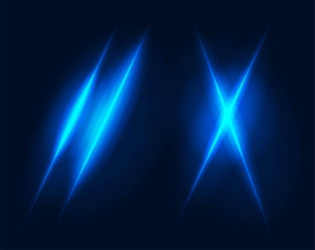 Flash brilhante estourou estrela neon azul raios de luz e efeito de brilho fantasia brilho transparente