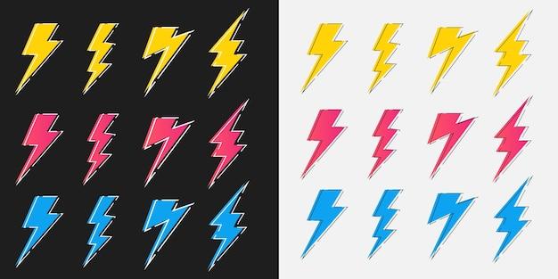 Flash de iluminação de trovão e parafuso desenhado à mão