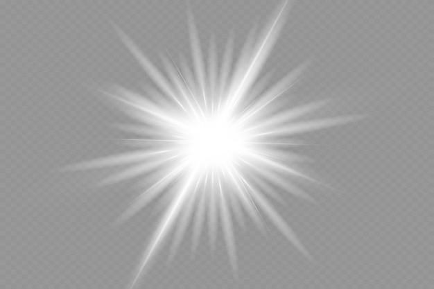 Flash de lente especial, efeito de luz. o flash emite raios e holofotes. illust.white brilhante luz. linda estrela luz dos raios. o sol está iluminado por trás. linda estrela brilhante. luz solar. brilho