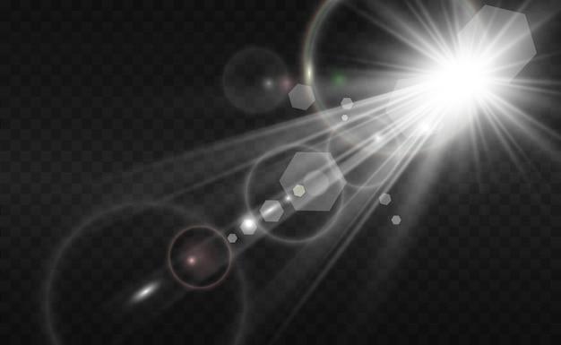 Flash de lente especial, efeito de luz. o flash emite raios e holofotes.