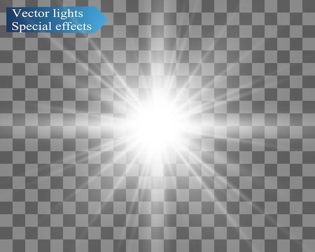 Flash de lente especial, efeito de luz. o flash pisca raios e holofotes. luz branca brilhante. linda estrela luz dos raios. o sol está iluminado. estrela linda e brilhante. luz solar. brilho.