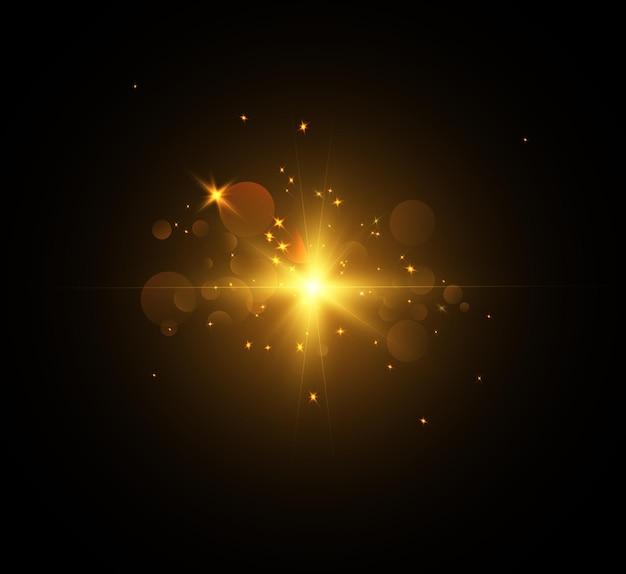 Flash de luz brilhante com reflexos de lente e raios