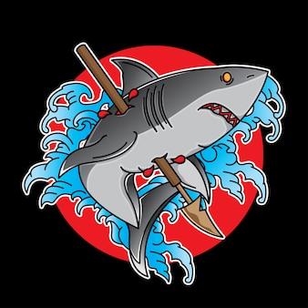 Flash de tatuagem de tubarão tradicional