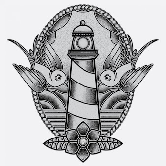 Flash de tatuagem do farol