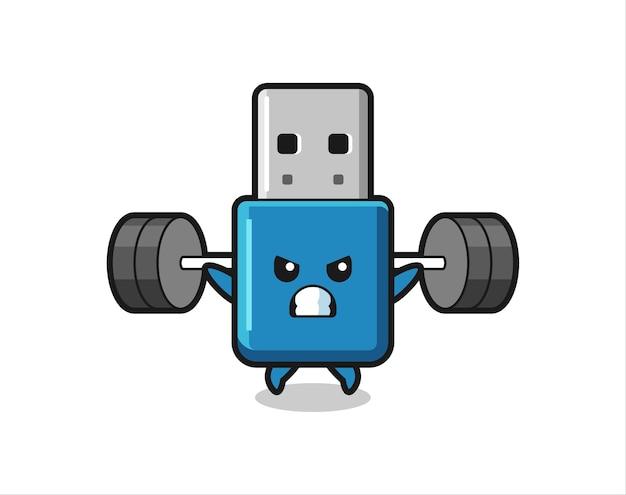 Flash drive usb mascote desenho animado com uma barra, design de estilo fofo para camiseta, adesivo, elemento de logotipo