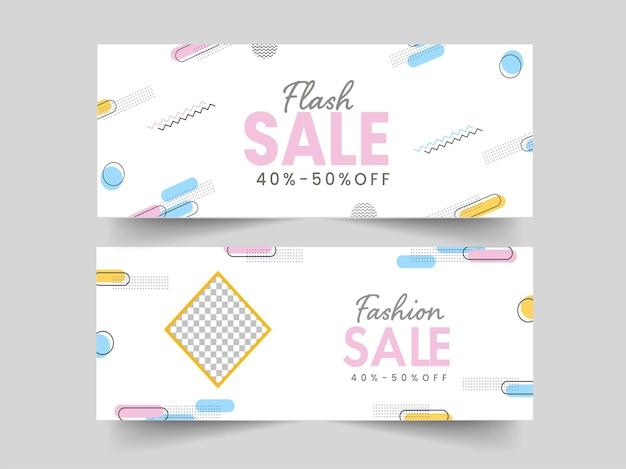 Flash e banner de venda de moda ou design de cabeçalho com oferta de desconto de 40-50% em duas opções.