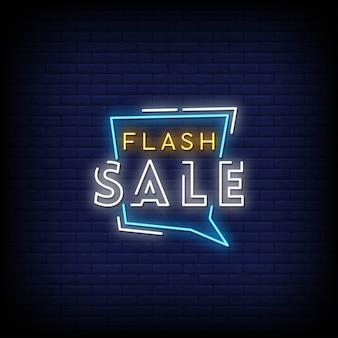 Flash venda sinais de néon estilo texto