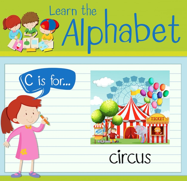 Flashcard alfabeto c é para circo