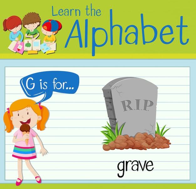 Flashcard alfabeto g é para grave