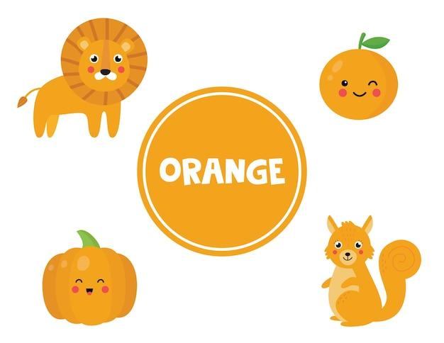 Flashcard bonito do vetor com conjunto de objetos laranja. página de aprendizagem de cores para crianças. planilha educacional para pré-escolares.